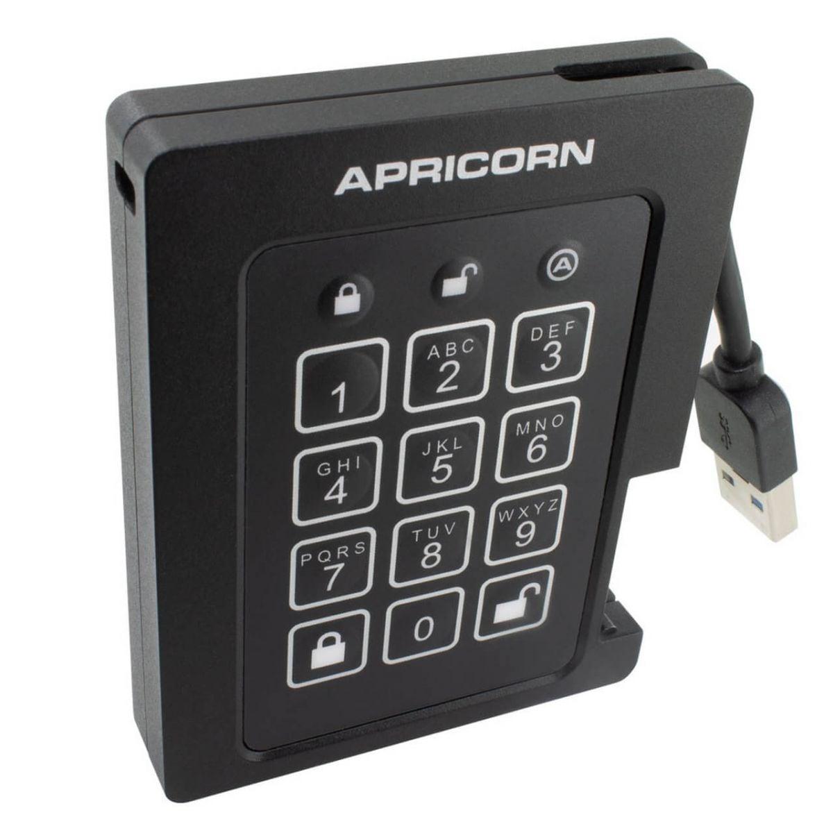 apricorn padlock beveiligde ssd 1tb