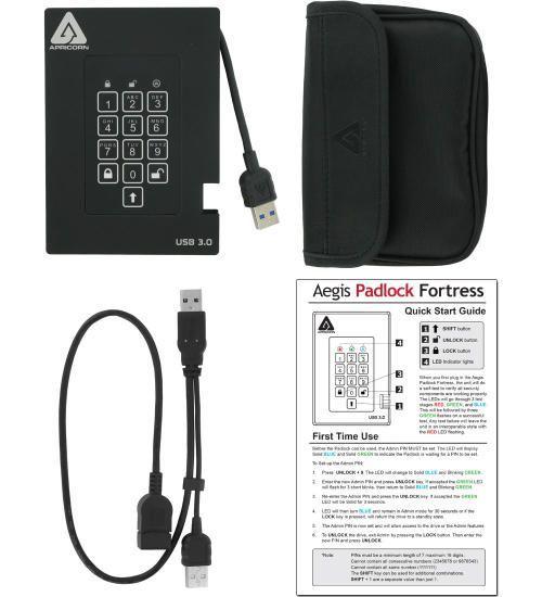 apricorn padlock fortress 2tb external ssd